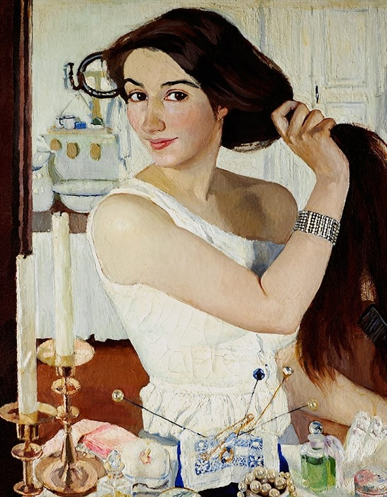 «Автопортрет с зеркалом». (1909). Автор: З.Е. Серебрякова.