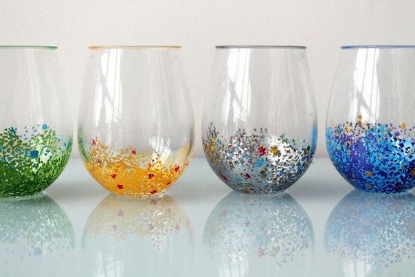Яркий декор стеклянной посуды