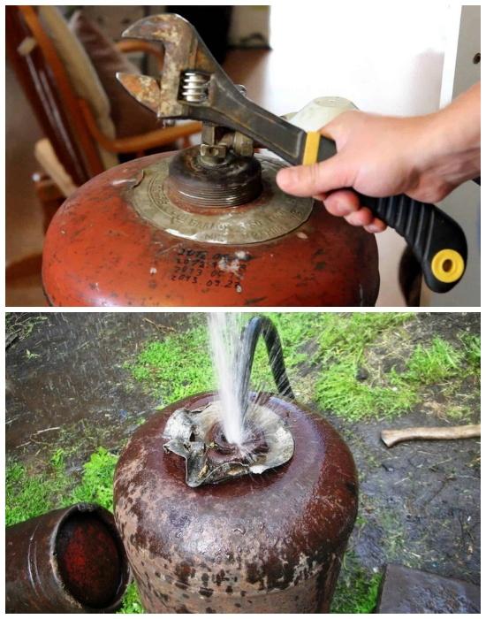 При работе с газовым баллоном нужно придерживаться правил техники безопасности. | Фото: remoo.ru.
