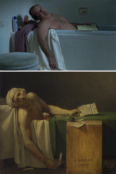 «О Шмидте», 2002 год, реж. Александр Пэйн и «Смерть Марата», 1973 год, Жак-Луи Давид.