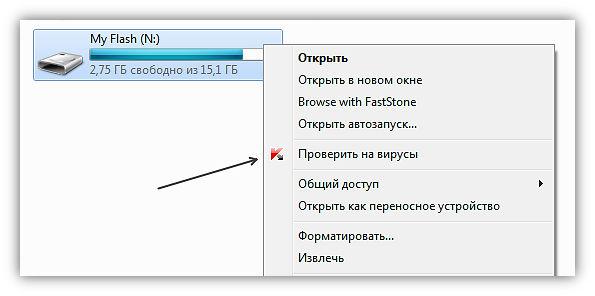 Скриншот вирусной проверки