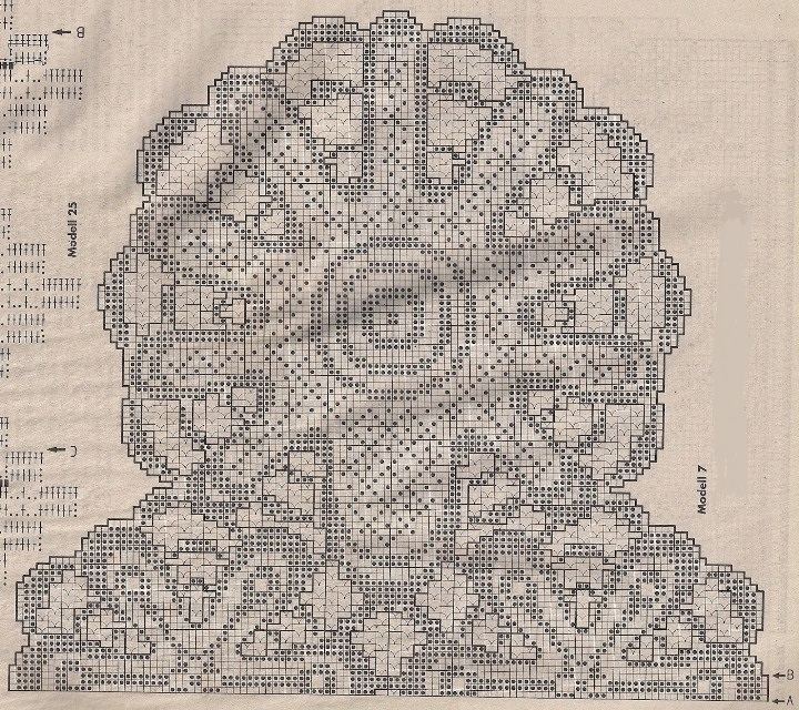 Схема к салфетке в технике филейного вязания крючком