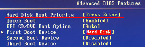 Boot and select proper boot device