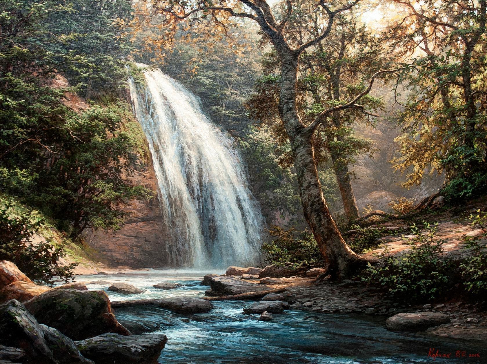 Модель у живописного водопада