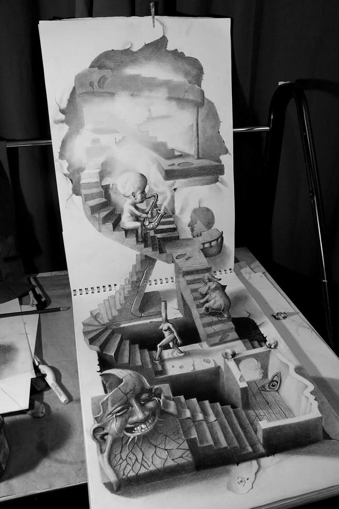 3Ddrawings06 Самые впечатляющие карандашные 3D рисунки от художников со всего света