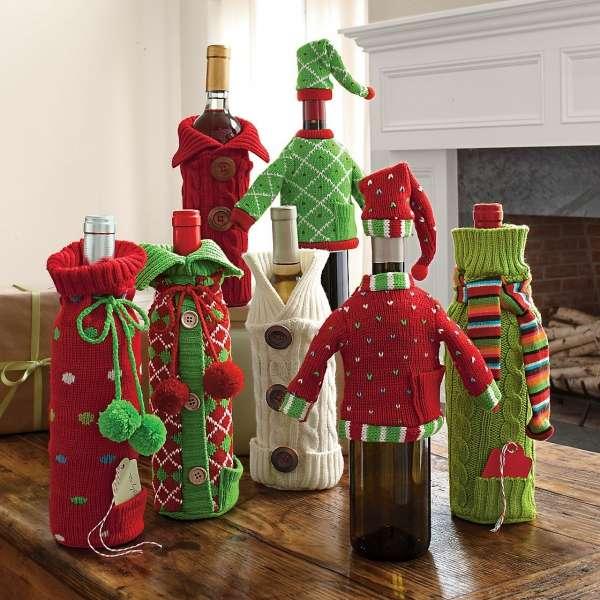 Вязаные декор бутылки шампанского на Новый год