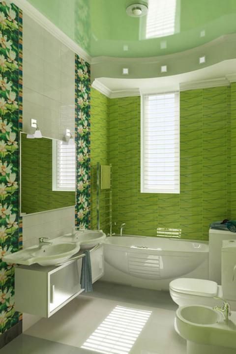 Потолок в ванной фото