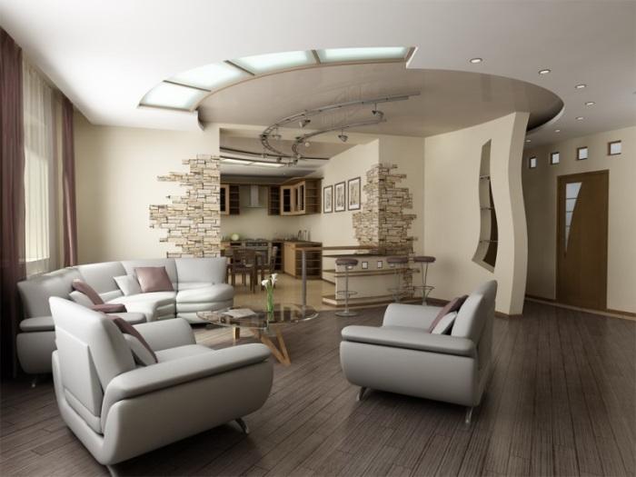 Правильное использование декоративных перегородок в интерьере гостиной комнаты.