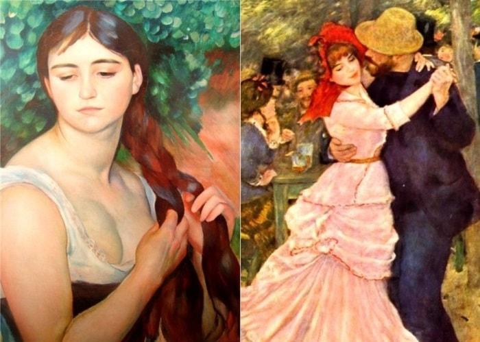О. Ренуар. Слева – *Девушка, заплетающая косу*, 1885. Справа – *Танец в Буживале*, 1883. Фрагмент | Фото: artchive.ru