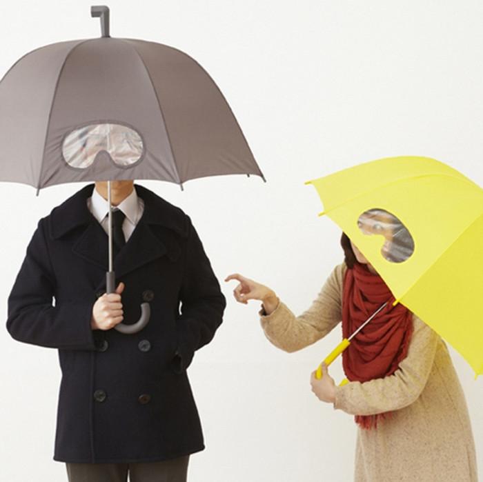 Зонт с прозрачными очками.