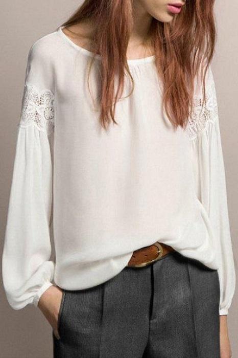 Нежная и элегантная белая блузка для романтического образа.