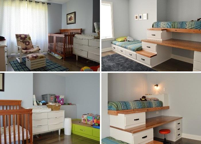 Канадская пара обустроила детскую комнату, используя лишь вторсырье и листы МДФ. | Фото: thevanderveenhouse.com.