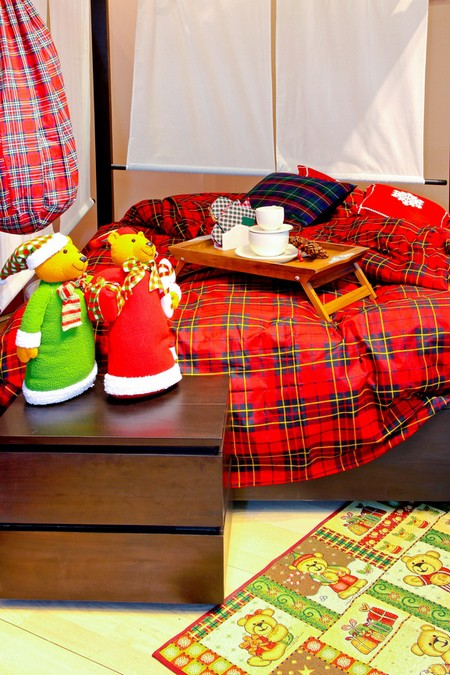 Клетчатый текстиль в детской