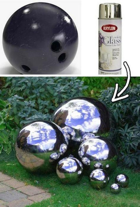 Стильная композиция из шаров для боулинга.