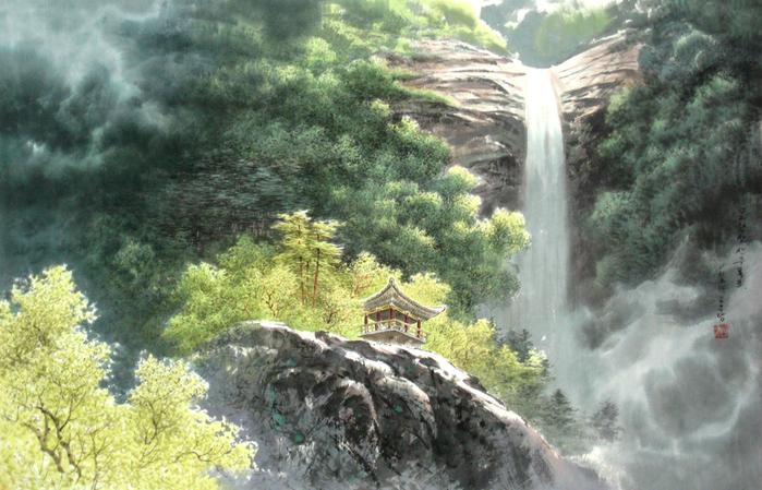 로유담_02.2_묘향산 산주폭포 - Горный массив Мёхянсан. Водопад Санджу (700x449, 498Kb)