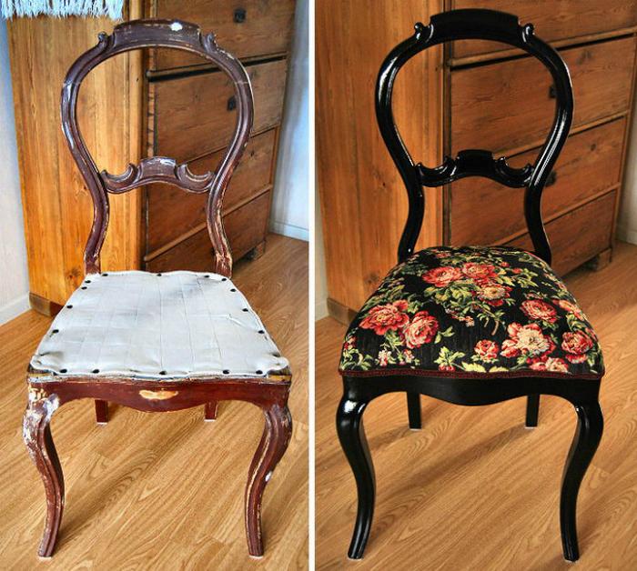Благодаря новой покраске и обивке, старый обшарпанный стул превратился в настоящий дизайнерский арт-объект, который по-настоящему удивит гостей и будет всегда радовать хозяев.