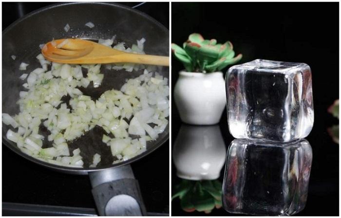 Лед охладит сковороду, чтобы лук не сгорел