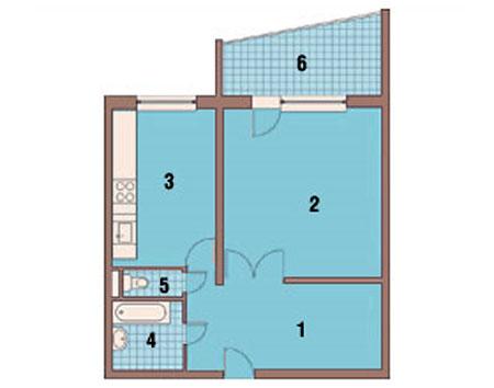 Однокомнатная квартира до перепланировки