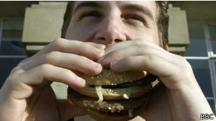 Поедание гамбургера