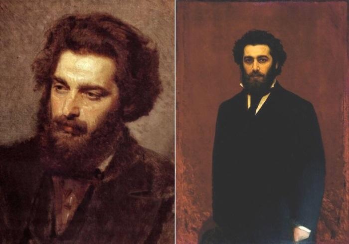 И. Крамской. Портреты А. И. Куинджи 1872 г. и к. 1870-х гг. | Фото: artcontext.info и tanais.info