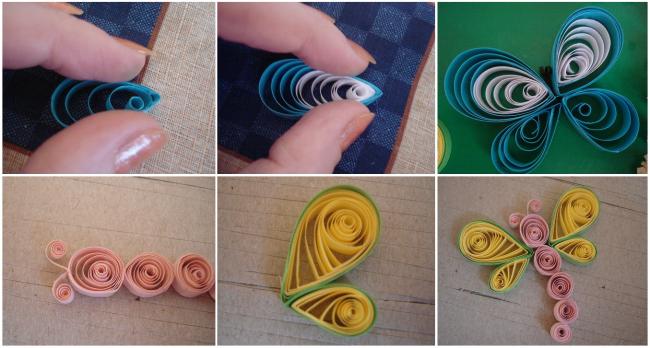 Процесс создания бабочки с помощью техники бумагокручения