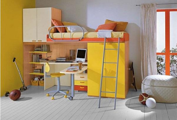 Яркая кровать-чердак от casamodern