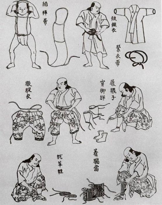 Надевание доспеха — от набедренной повязки до сунэатэ (поножей)