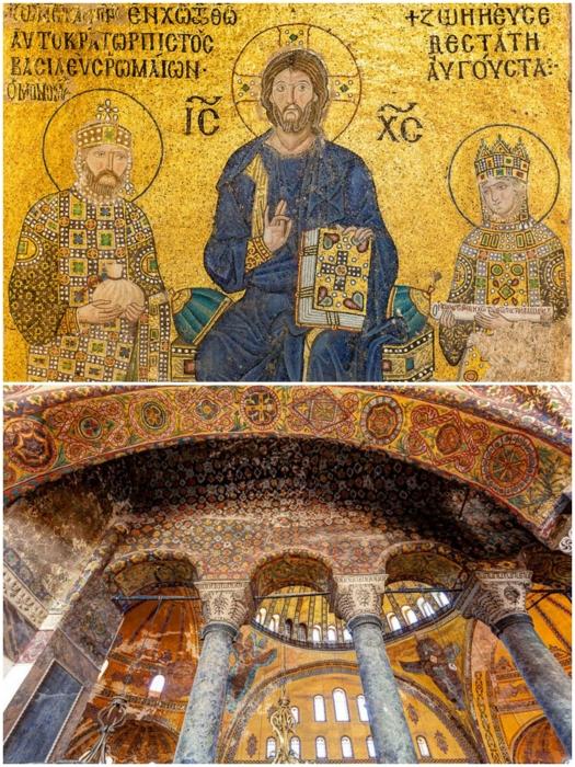 Византийская мозаика и надписи сохранились до наших дней (Софийский собор, Стамбул). | Фото: philologist.livejournal.com.
