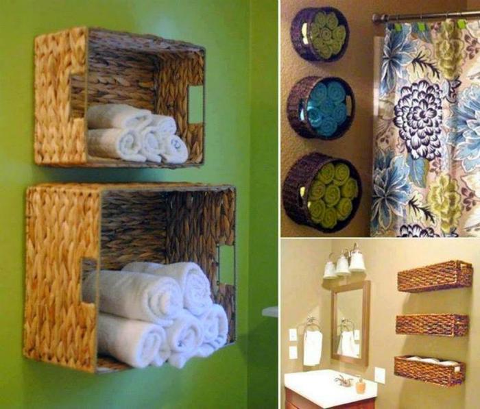 Банные полотенца можно хранить в плетенных корзинах, прикрепленных к стене.