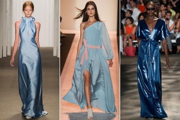 Голубой - тентенденции весна 2015, на фото модели Chistian Siriano, BCBG Max Arzia и Honor