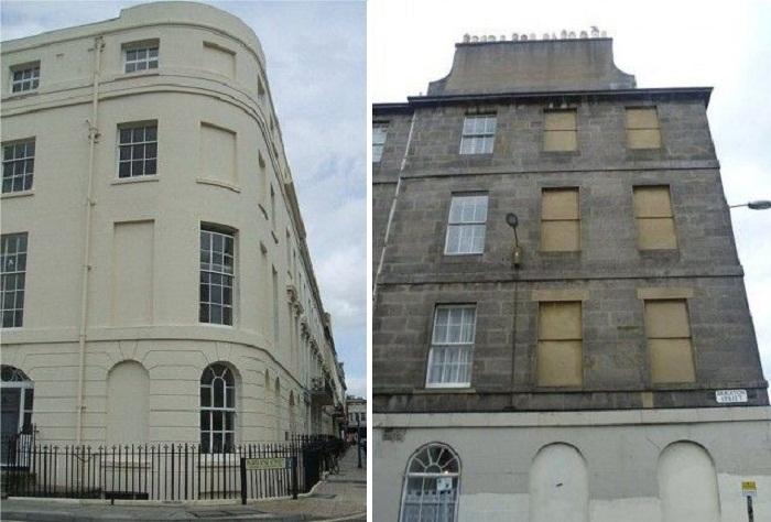 Чтобы избежать налога владельцы замуровывали окна передних фасадов особняков (Англия).