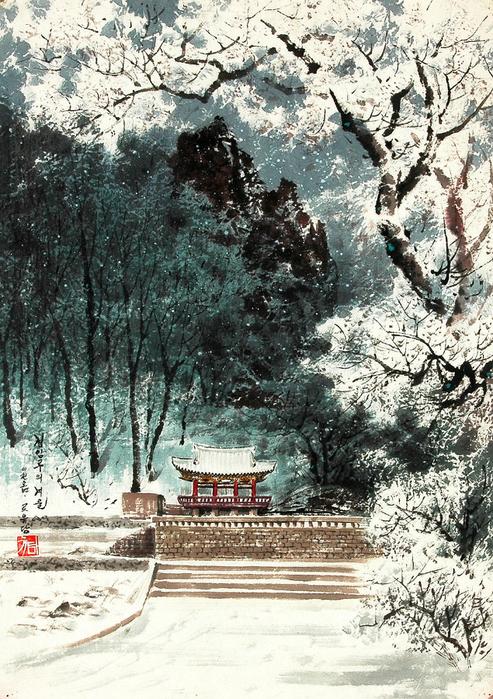 로유담_05.2_경암루의 겨울 - Павильон Кёнъамру зимой. 2005 (493x700, 583Kb)