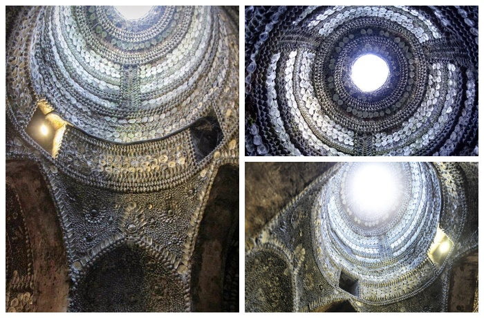 Отверстие в куполе грота освещает алтарь в день летнего солнцестояния (Margate Shell Grotto).