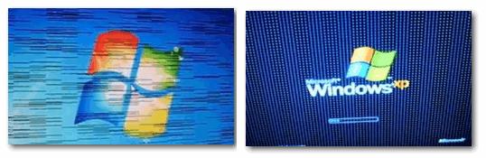 Фото монитора с вертикальными и горизонтальными полосами