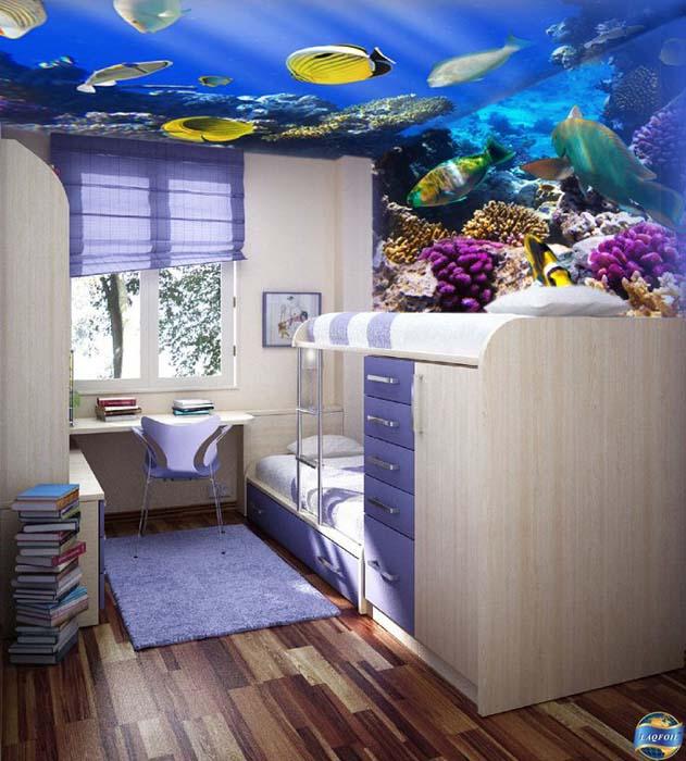 Потолок, оформленный в морском стиле.