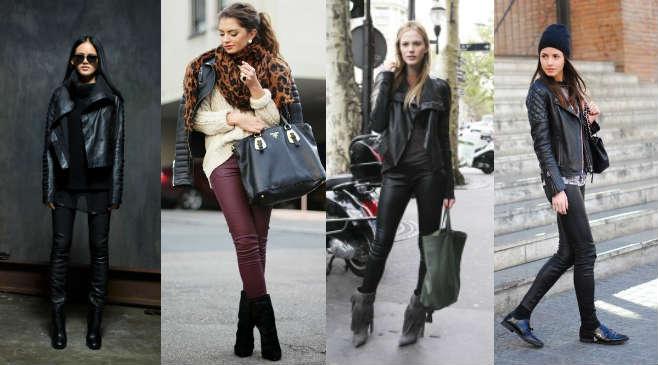 Сочетание кожаной куртки с кожаными брюками