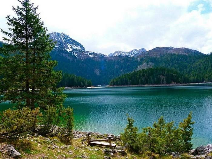 Берега уникального водоема ледникового происхождения покрыты зарослями из густых хвойных лесов, чье отражение придает озеру тот самый «черный» цвет.