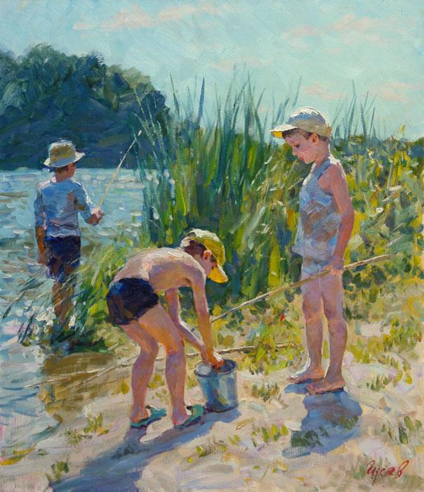 Солнечный день, Владимир ГуÑев- картина, лето, река, мальчики, рыбалка, импреÑÑиониÐм