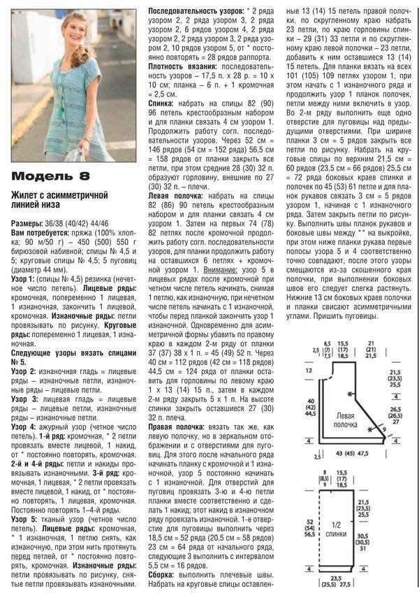 Схема и описания вязания спицами женского ажурного жилета, пример 2