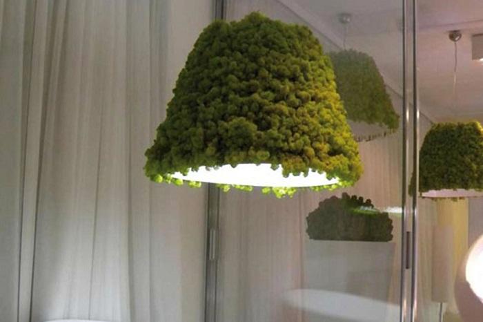 Необычный светильник, который полностью покрыт стабилизированным мхом.