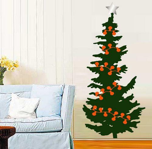 Нарисованная елка на стене фото