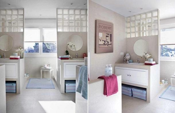 Зонирование в ванной перегородками