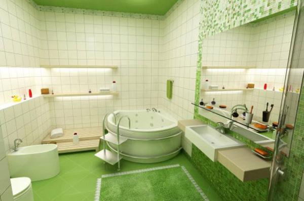 Ванная комната в зелёных тонах