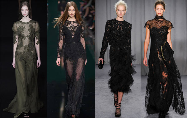 Модные вечерние платья с гипюром осень-зима 2014/2015