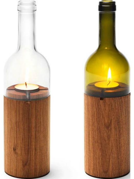 Свеча из дерева и винной бутылки