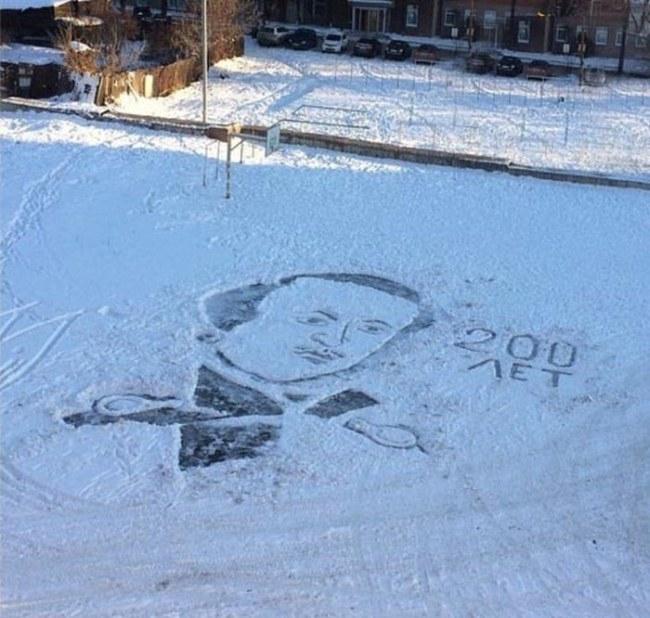 Дворник приобщает детей к прекрасному картинами на снегу добро, люди, поступки