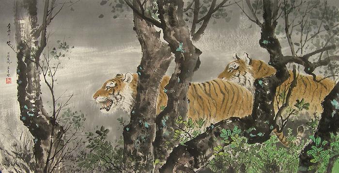 로유담_32.2_숲속의 범 - Тигры в лесу. 2006 (700x357, 415Kb)