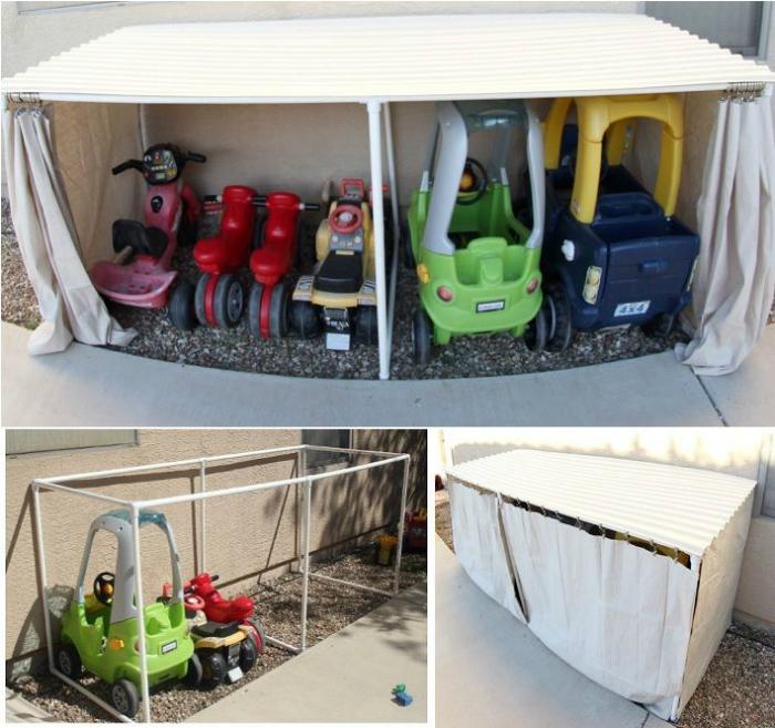 Гараж для детского транспорта.