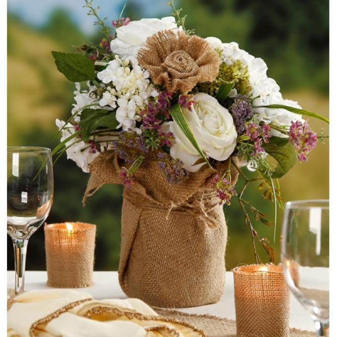 Как украсить вазу мешковиной