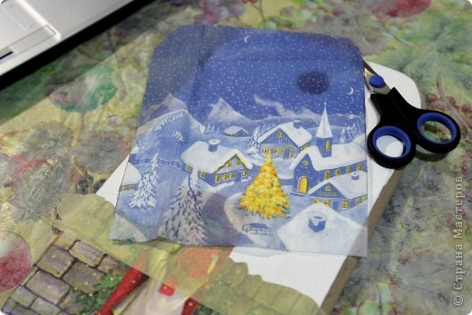 Декор предметов, Мастер-класс Декупаж: как соединить 2 салфетки м\к Салфетки Новый год. Фото 12
